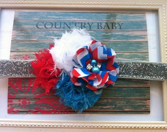 Baby Headband Red White and Blue...Fourth of July Headband...Baby Headband...Toddler Headband...Girls Headband...Patriotic Headband