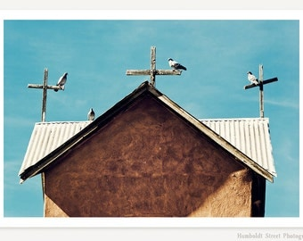The Congregation - Southwestern Art - New Mexico Church Photo - Bird Photograph - Turquoise Color Photograph