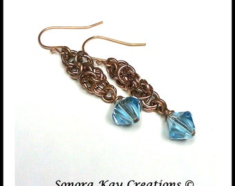 Ready To Ship  Byzantine Chainmaille Earrings in Copper with  Aquamarine color  Swarovski Crystal Accents