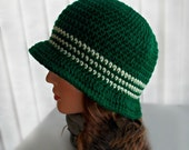 Hunter Green Crocheted Cloche - Stripes, Flapper Hat, Stylish, Spring, Boutique