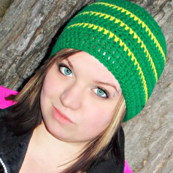 Crocheted Beanie- Green Bay, John Deer, Yellow, Green