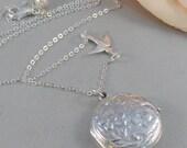 Alouette,Locket,Silver Locket,Sterling Silver Locket,Sterling Silver,Bird,Bird Necklace,Wedding Jewelry. ewelry by valleygirldesigns.