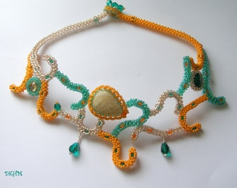 Emerald, orange andlinen beaded necklace, ooak