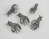 5 pcs.Silver Tone Skull Cross Bone Skull Hand Concho Steel Rapid Rivet Stud Leathercraft Decor Fashion Accessories Sizes 17x32 mm. SK N 7509