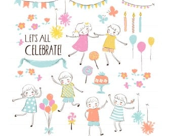 Birthday Party Clipart Kids Children personal and commercial use - Clip Art Cake Candy Pom Pom Banner Balloons Flowers Candles