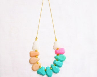 Teal Peach Statement Necklace, Pastel Polymer Clay Necklace in Teal Peach Pink White, Gem Candy Collection