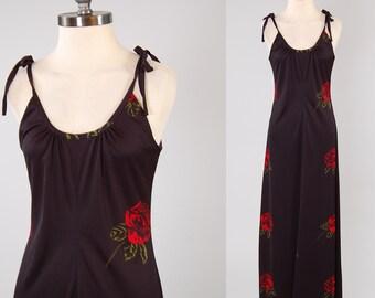 SALE Vintage 70s black ROSE print maxi dress / Bohemian SPANISH romance