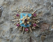 1950's Pink and Turquoise Heraldic Brooch