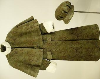 Vintage Edwardian, 1910s Coat, Cap, Reproduction, ca 1914 Design, Girls, Christmas Caroler, Costume, Green Paisley, Velvet, Fun Fur, B30 W28