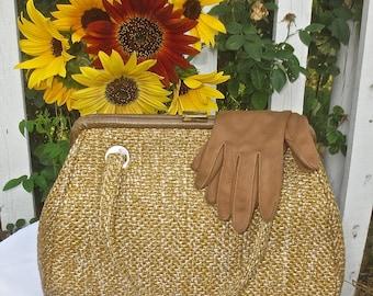 "Vintage 1950's - 1960's ""JR"" Golden Tweed Purse Handbag Pocketbook"