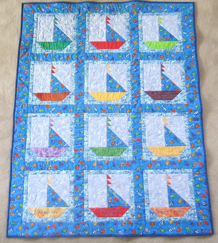 Sailboat Baby Quilt Custom Order