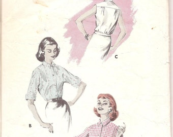 1950s Womens Blouson Top Shirt - Vintage Sewing Pattern Butterick 8096 - Bust 32