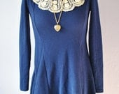 Blue Vintage 1960s Baby Doll Lace Collar Girly Mini Dress