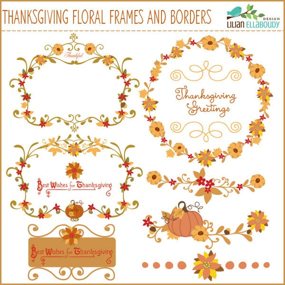 Fall and Thanksgiving floral botanical frames, separators and labels clipart