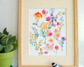 Scattered Blooms, Watercolor Flowers Fine Art Print, 8x10, 5x7, Spring Flowers