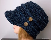 Newsboy Slouchy Hat, Denim Twist Thick Chunky Style Hat