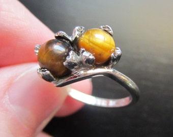 Vintage Sterling Tiger's Eye Orb Ring