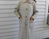 Vintage 60s Coat Wool Ivory Beige Winter Peerless L XL