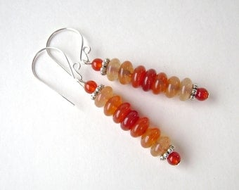 Red Agate Earrings, Stick Earrings, Gemstone Jewelry, Carnelian, Silver, Gradated, Yellow, Orange, Red, Pewter, Red Orange, Fiery, Hot, 649