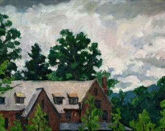 From the Clark, Williamstown, Berkshires. Realist Landscape Painting, 9x12 Plein Air Impressionist Oil on Panel, Signed Original Fine Art