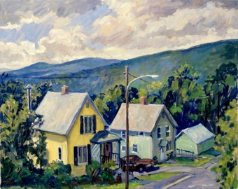 From the Front Porch, July. Landscape Painting, Large Realist Oil on Canvas, 18x24 Plein Air Impressionist Fine Art, Signed Original