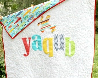 Appliqued Name Quilt, Personalized Quilt, Monogrammed Baby Quilt, Custom Made