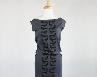 Size Small | Grackle Pattern Jersey Tunic Dress in Asphalt Grey | Birds | Bird Tee