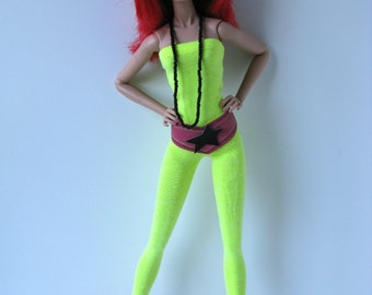 Jem neon yellow strapless jumpsuit, pink vinyl star belt & black necklace for Jem and the Holograms doll