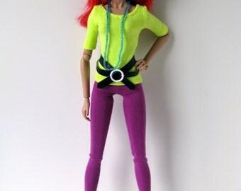 Jem Purple leggings, neon yellow shirt, black and white vinyl belt, blue necklace and ruffled socks for Jem and the Holograms doll