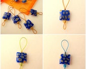 Bead Knitting Stitch Markers - Set of 7 - Select Your Set of Cobalt Blue Square Millefiori