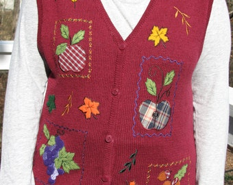 Fall clothes, Fall vest, vest, tacky vest, tacky sweater, christmas sweaters, red vest, apples, fall leaves, fall, christmas, holiday vest