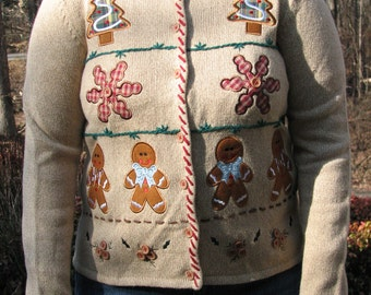 Gingerbread men, gingerbread house, gingerbread men sweater, gingerbread sweater, tacky sweater, tacky vest, tacky christmas sweater,