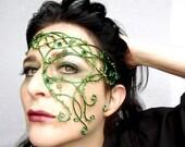 Green vine half face mask, masquerade ball mask, handmade mask, womens mask, accessories,