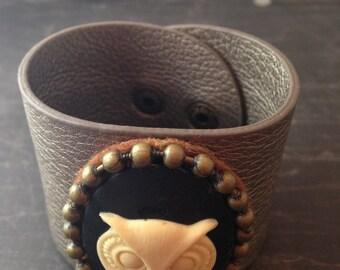 Steampunk Owl Cameo Wide Cuff Bracelet