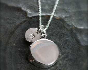 Plain Small Round Sterling Silver Locket Necklace Hand Stamped Initial Charm - Modern Mini