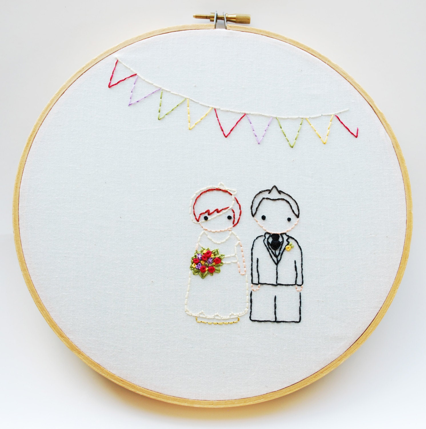 The peg doll wedding personalized embroidery