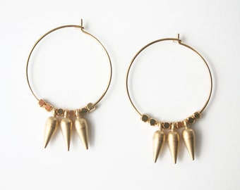 Gold Spike Earrings, Hoop Earrings, Byzantine Inspired