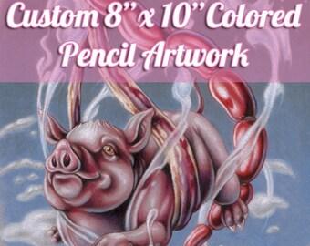"Custom Medium Colored Pencil Illustration - Original Artwork, Traditional Art, 8""x10"""