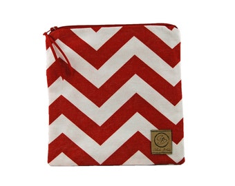 Sandwich Size Reusable Bag - Red and White Chevron Stripe