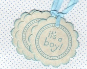 20 Baby Shower Favor Tags / It's A Boy Baby Gift Tags / Place Cards / New Baby Labels / Blue - Vintage Style