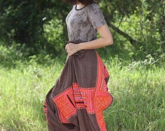 100 percent hemp Harem pants in wooen brown with hand embriodery