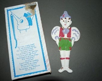 Vintage 1950's Cleminsons Pinocchio Glazed Ceramic Children's Toothbrush Holder Wall Hanging Plaque - New in Box