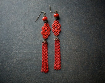 China Red Chain Tassel Shoulder Duster Earrings with Red Acrylic Filigree Linkers and Rhinestone Rondelles
