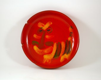 Pacific Stoneware Ginger Tiger Cat Ashtray in the Style of Bitossi
