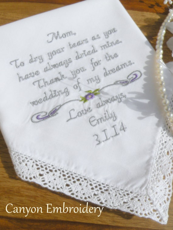 Accessories mother of the bride hankerchief embroidered
