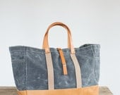 No. 175-L Garden / Tool Tote in Waxed Canvas & Horween Leather