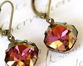 Lilac Shadow Swarovski Crystal Earrings, Cushion Cut, Estate Style Earrings, Radiant Orchid