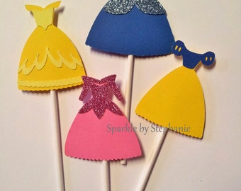 Disney Princess Cupcake Toppers - Cindella, Belle, Snow White & Sleeping Beauty (Aurora)  Dresses - Set of 12