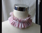 Pink and white stripe circus collar