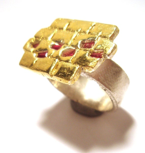 22kt Gold Platinum: Wizard Of Oz Ring Yellow Brick Road Fine Silver 22kt Gold Ruby